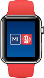 Image of an apple watch and the popular logo in the center.