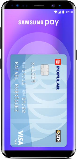 Mobile phone showing samsung pay screen