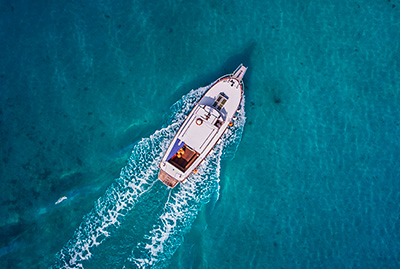 Boat sailing viewed from above