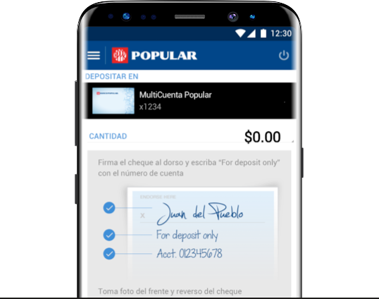 Mobile screen with MultiCuenta Popular selected to deposit