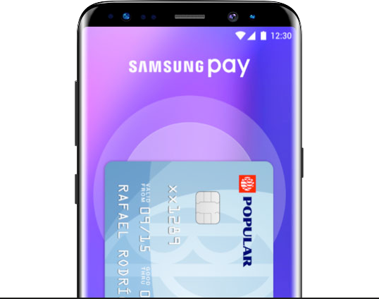 Mobile screen showing Sansung Pay application with Popular card added