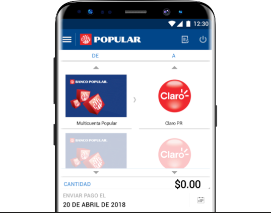 Mobile screen with the Claro Puerto Rico invoice selected